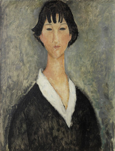 Art Prints of Young Woman with Black Hair by Amedeo Modigliani