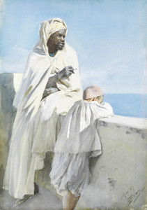 Art Prints of Algerian Man and Boy Looking across the Bay of Algiers by Anders Zorn