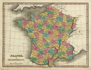 Art Prints of France in Departments, 1831 (0285046) by Anthony Finley
