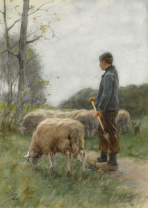 Art Prints of A Shepherd and His Flock by Anton Mauve