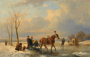 Art Prints of A Winter Landscape with Figures on a Sleigh by Anton Mauve