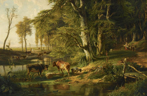 Art Prints of Cattle by a Wooded Stream, Oosterbeek by Anton Mauve
