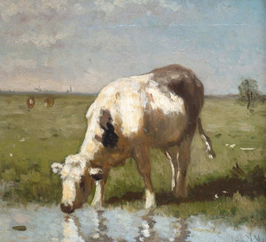 Art Prints of Cow Watering by a Pool by Anton Mauve