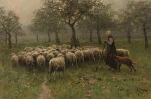 Art Prints of Shepherdess with Flock by Anton Mauve
