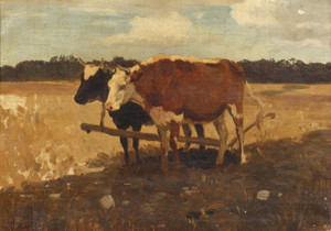 Art Prints of Study of Cows in a Field by Anton Mauve