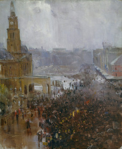 Art Prints of Firemans Funeral, George Street by Arthur Streeton