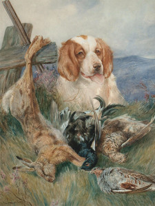 Art Prints of Guarding the Day's Bag by Arthur Wardle