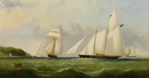 Art Prints of The Yacht Cambria Racing off Ryde by Arthur Wellington Fowles