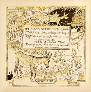 Art Prints of The Ass and the Sick Lion, Aesop's Fables