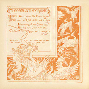 Art Prints of The Geese and the Cranes, Aesop's Fables