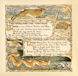Art Prints of Hare and the Tortoise & Hares and the Frogs, Aesop's Fables
