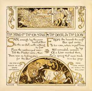 Art Prints of Stag in the Ox Stall & The Deer and the Lion, Aesop's Fables