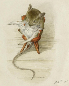 Art Prints of Mouse Reading a Newspaper by Beatrix Potter