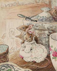 Art Prints of Mice Listen to Tailor on Shelf by Beatrix Potter