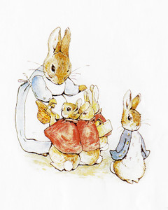 Art Prints of Mrs. Rabbit with Three Bunnies in Red and Peter by Beatrix Potter