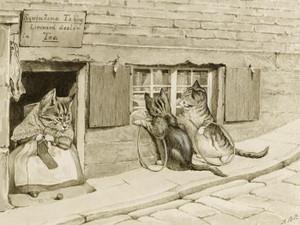 Art Prints of Squintina Tabby, Licensed Dealer in Tea by Beatrix Potter