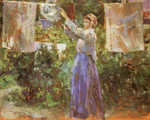 Art Prints of Peasant Woman Hanging out the Laundry by Berthe Morisot