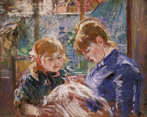 Art Prints of The Sewing Lesson, the Artist's Daughter Julie by Berthe Morisot