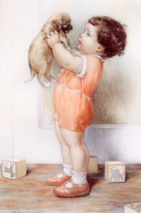 Art Prints of Benjamin Scolds His Dog Danny by Bessie Pease Gutmann