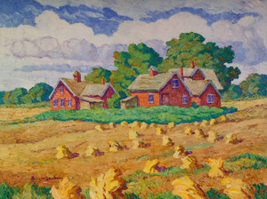 Art Prints of Red Farm and Wheat Shocks by Birger Sandzen