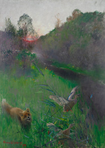 Art Prints of Afternoon Landscape with Fox and Seabirds by Bruno Liljefors