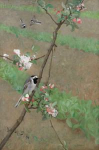 Art Prints of White Wagtails, 1884 by Bruno Liljefors