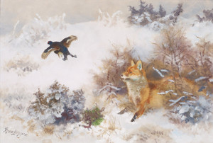 Art Prints of Winter Landscape with Fox and Grouse by Bruno Liljefors