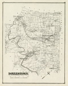 Art Prints of Doylestown, 1876, Bucks County Vintage Map