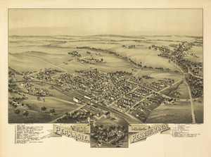 Art Prints of Perkasie, 1894, Bucks County Vintage Map
