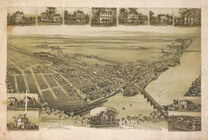 Art Prints of Morrisville, 1893, Bucks County Vintage Map