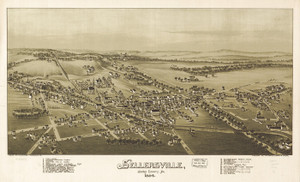 Art Prints of Sellersville, 1894, Bucks County Vintage Map