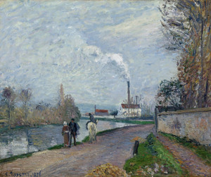 Art Prints of The Oise near Pontoise in Grey Weather by Camille Pissarro