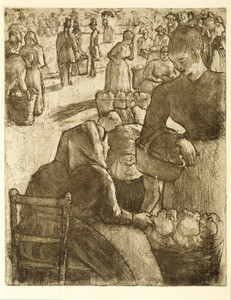 Art Prints of Vegetable Market at Pontoise by Camille Pissarro