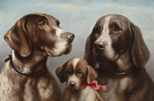 Art Prints of Family of German Shorthaired Pointers by Carl Reichert