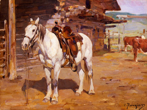 Art Prints of At the Stable by Carl Rungius