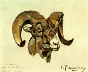 Art Prints of Ram Head by Carl Rungius