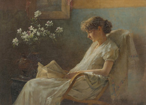 Art Prints of A Comfortable Corner by Charles Courtney Curran