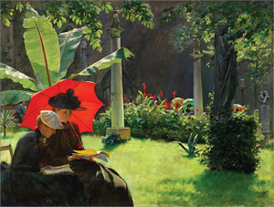 Art Prints of Afternoon in the Cluny Garden, Paris by Charles Courtney Curran