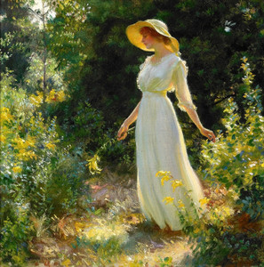 Art Prints of Woman in a White Dress in a Garden by Charles Courtney Curran