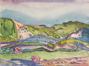 Art Prints of Mountain with Red House by Charles Demuth