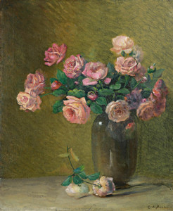 Art Prints of Pink Roses on a Table by Charles Ethan Porter