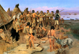 Art Prints of Captain William Clark Meeting the NW Indians by Charles Marion Russell