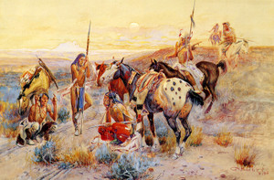 Art Prints of First Wagon Tracks by Charles Marion Russell