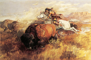 Art Prints of Indian on a White Horse Shooting a Buffalo by Charles Marion Russell