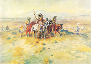 Art Prints of Intercepted Wagon Train by Charles Marion Russell