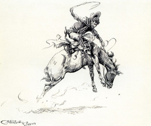 Art Prints of Judith Basin Bronc Twister by Charles Marion Russell