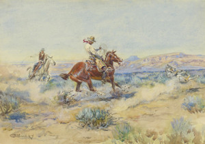 Art Prints of Roping a Wolf, No. 1 by Charles Marion Russell