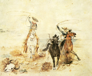 Art Prints of Roping 'Em by Charles Marion Russell