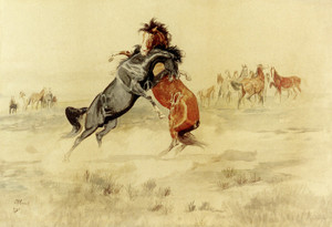 Art Prints of The Challenge by Charles Marion Russell
