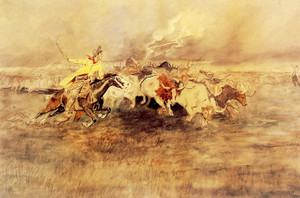 Art Prints of The Stampede or Turning the Herd by Charles Marion Russell